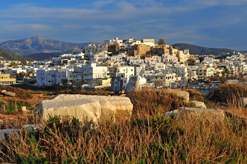Top view od Chora town, Naxos island. Greece stock images