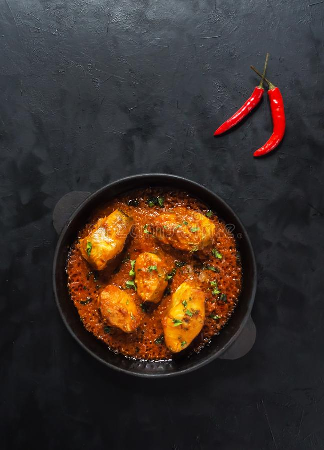 Free Top View Of Spicy And Hot Bengali Fish Curry. Indian Food. Fish Curry With Red Chili, Curry Leaf, Coconut Milk. Asian Cuisine. Royalty Free Stock Images - 133020639