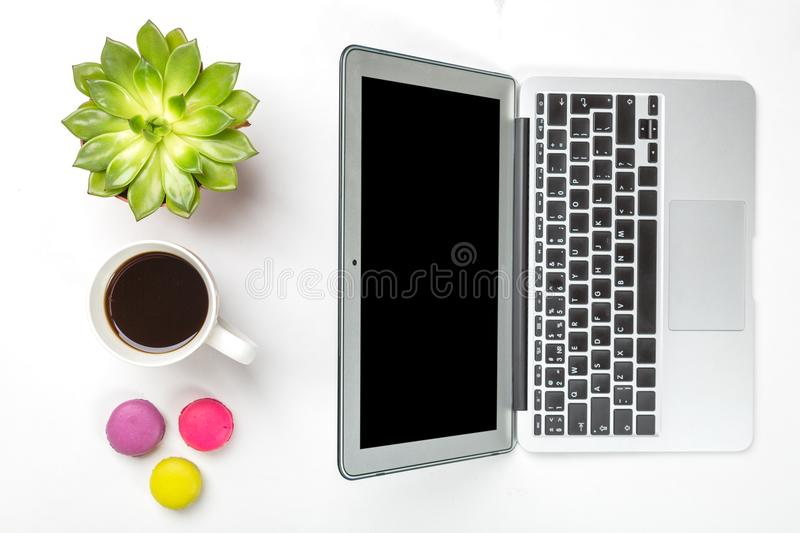 Top view of office desk. Green plant in a pot, cup of coffee, colorful macaroons and modern silver laptop on white background stock images
