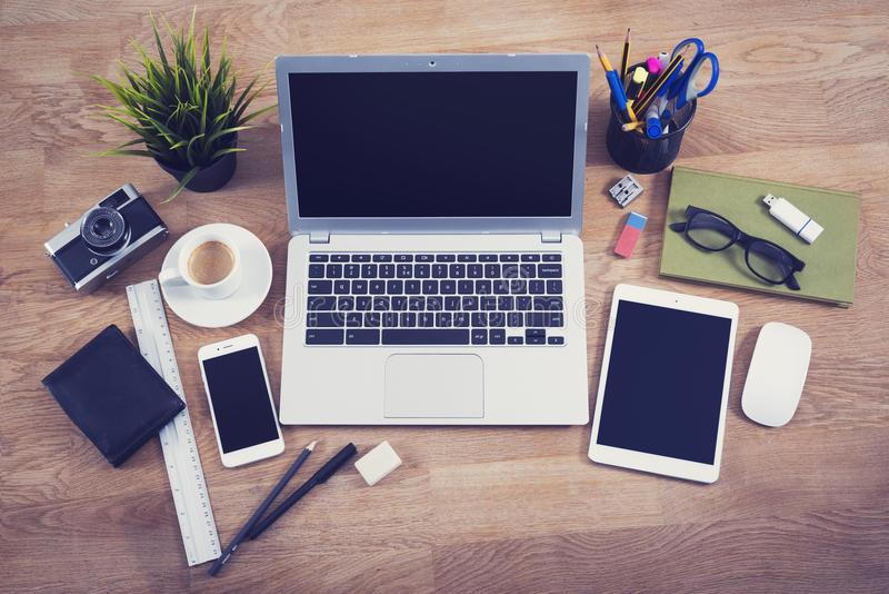 Top view office desk stock photography