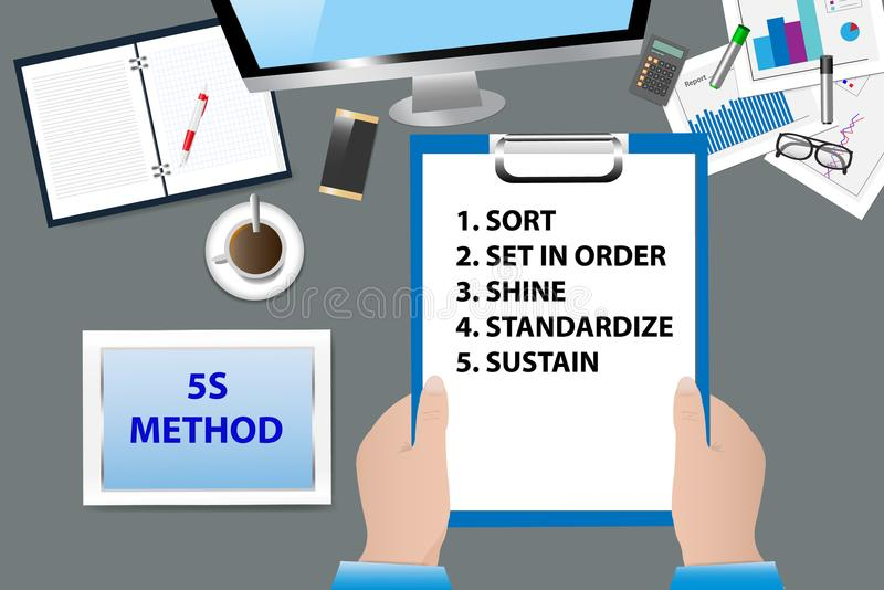 5S Kaizen Method concept vector. Top view of the office desk with office supplies. Hands are holding a paper with 5S Kaizen Method text. All potential trademarks vector illustration