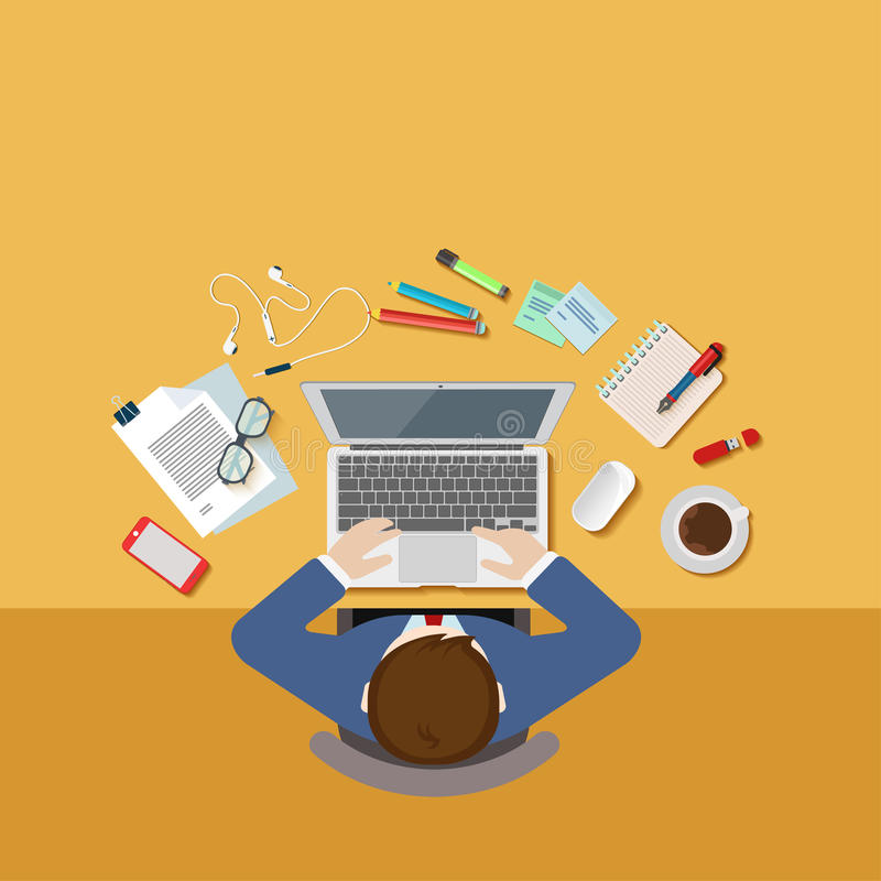 Top view office desk workplace concept flat 3d web isometric vector illustration