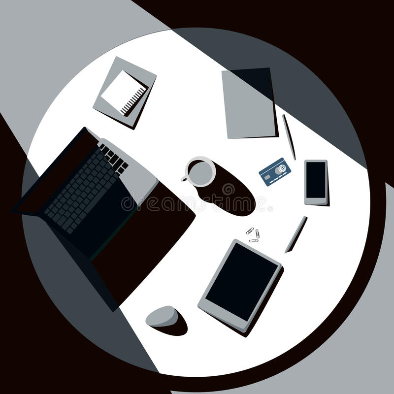 Top view of office table with laptop, tablet, cup of coffee, smartphone and credit card. Sunlight falls on desk royalty free illustration
