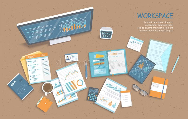 Top view of office table, supplies, documents, notepad, folder, tablet. Charts, graphics on a monitor screen. Vector illustration. Business background vector illustration