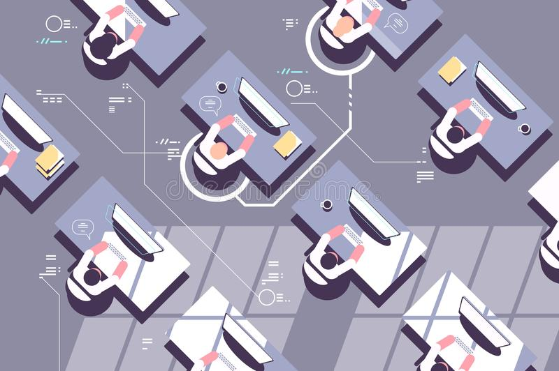 Top view of office workers in workplace vector illustration
