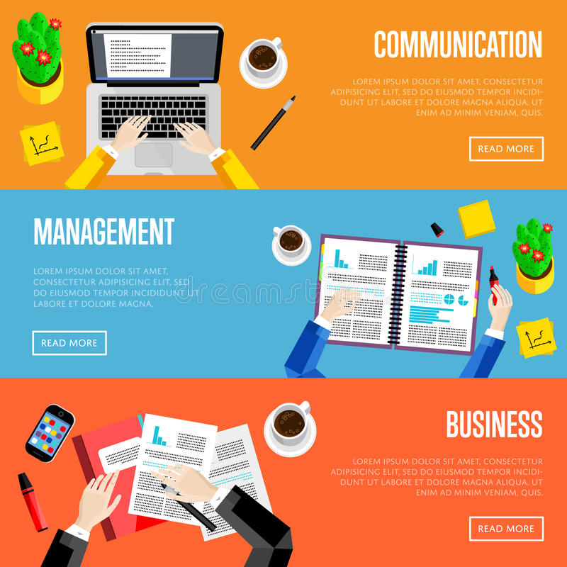 Top View Office Workspace Website Templates Stock Illustration ...