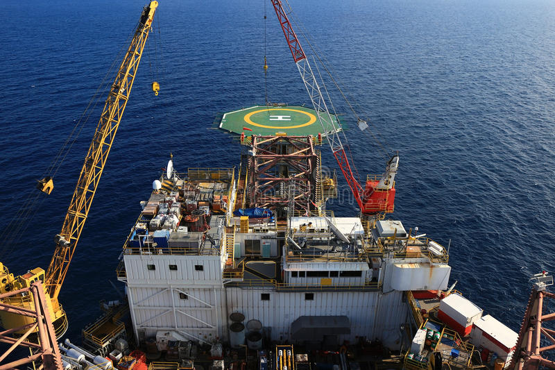 Top View of Offshore Drilling Rig stock photo