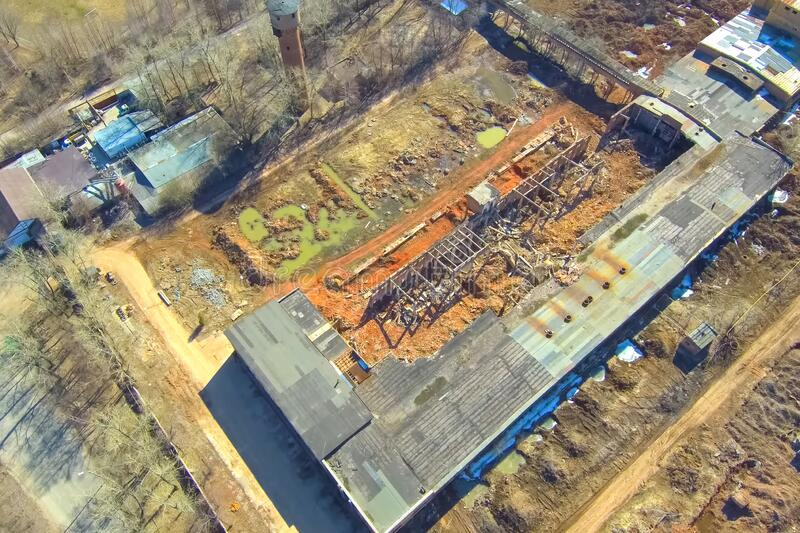 Top view of an old abandoned brick factory. Destroyed royalty free stock images