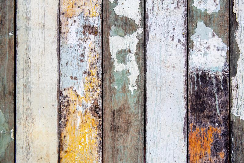 Top view of old grunge colorful or multi color wooden wall or floor for background texture. stock image