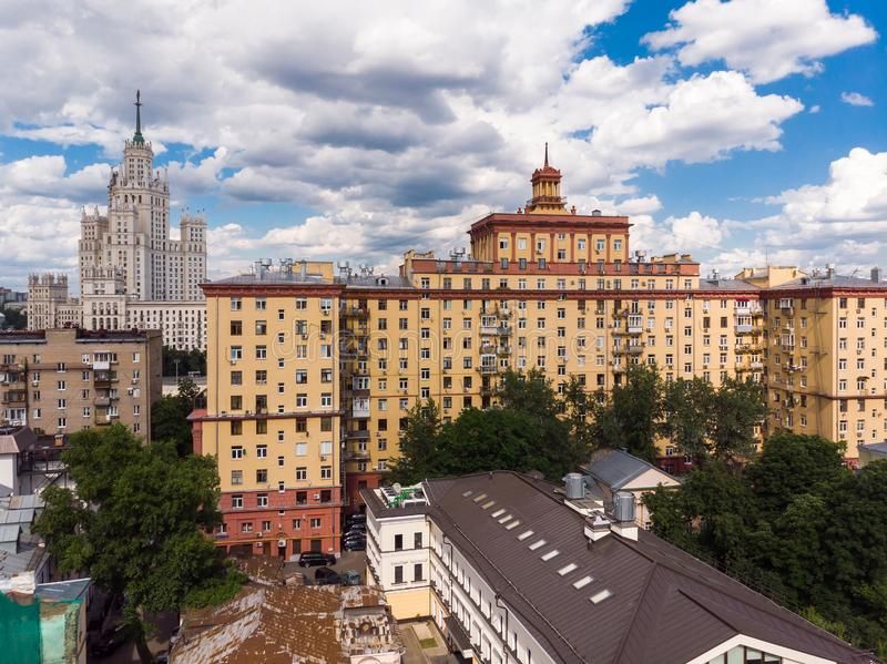 Top view of old houses in center in Moscow, Russia stock image