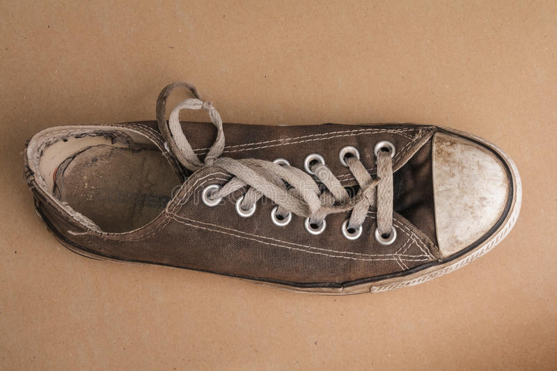 Top view of old tennis shoe stock photos