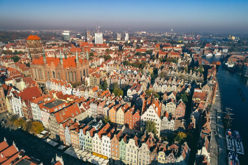 Top view of Old Town in Gdansk, Poland. royalty free stock photos
