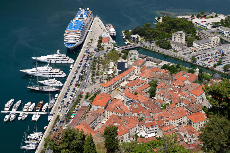 Top view on old town Kotor stock photo