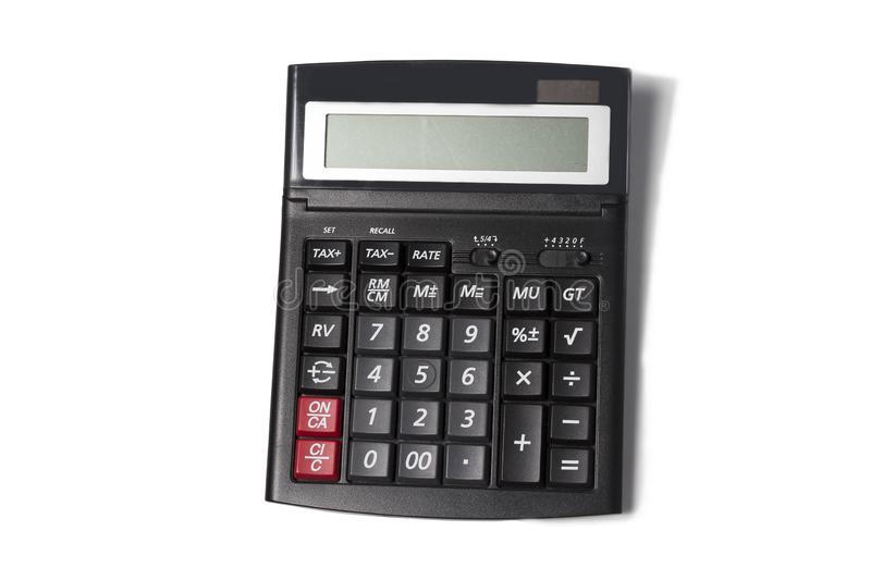 Top view of one black modern calculator isolated on white background royalty free stock photos