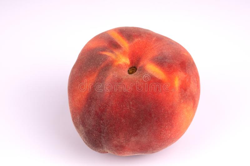 Top view on summer harvested red juicy peach on white background royalty free stock image