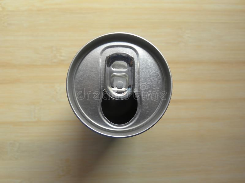 Top view of open beverage drink can royalty free stock photo