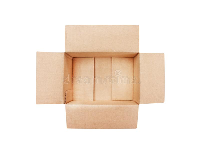 Top view open empty brown cardboard box isolated on white background with clipping path stock image