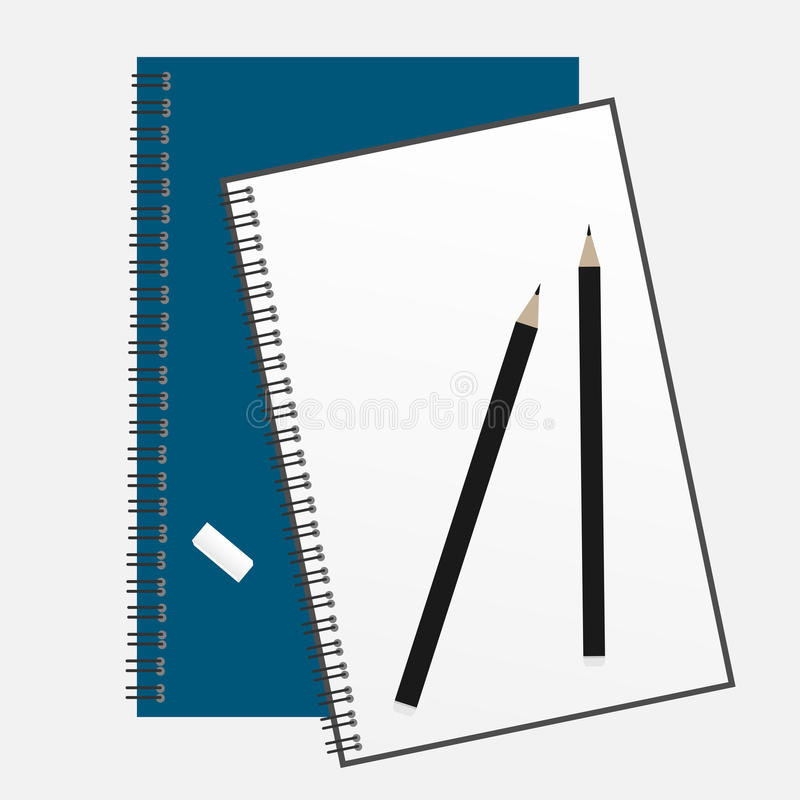 Top view of an open spiral notebook and pencil. stock illustration