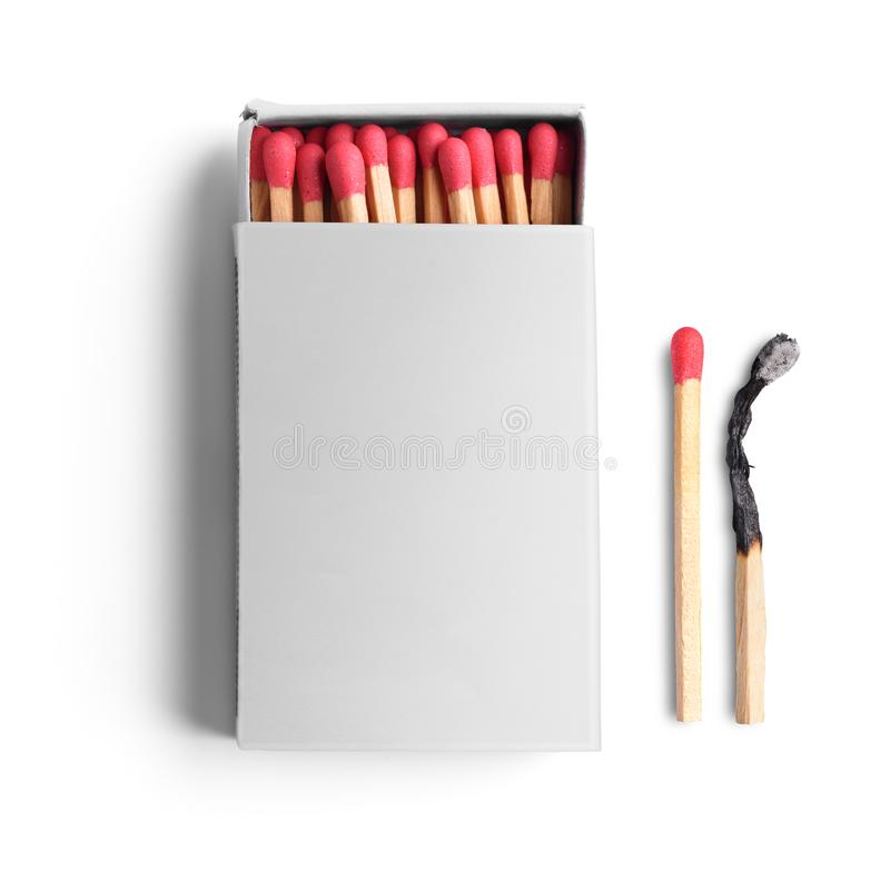 Opened matchbox. Top view of opened blank matchbox isolated on white background royalty free stock photos