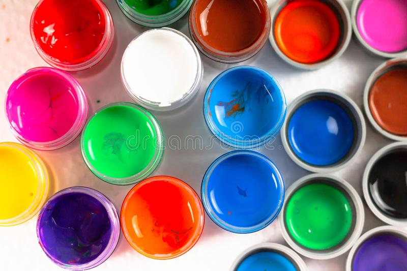 Top view of opened bottles poster color royalty free stock images