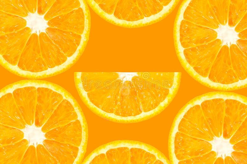 Top view of orange slice fruit on color. Background stock image