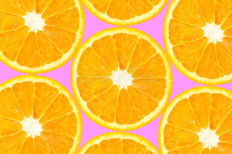 Top view of orange slice fruit on color. Background stock photo