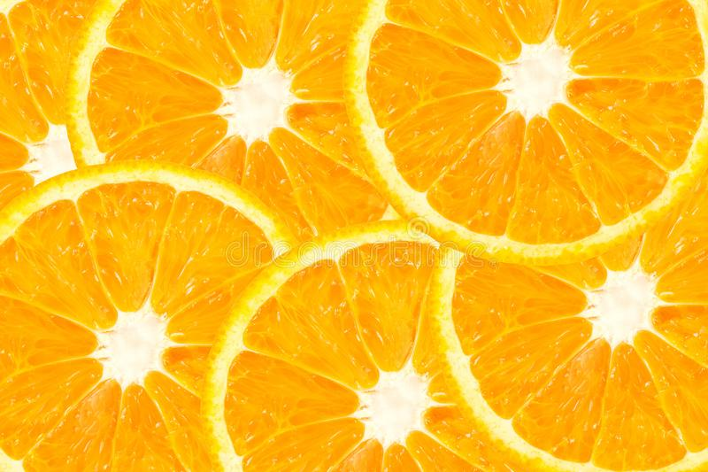 Top view of orange slice fruit on color. Background stock images