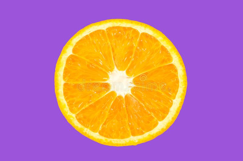 Top view orange slice fruit on color. Background royalty free stock photo