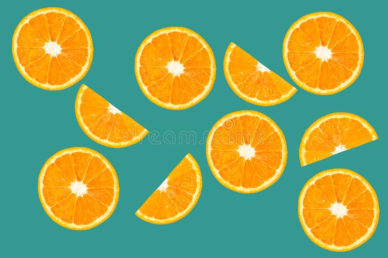 Top view of orange slice fruit on color. Background royalty free stock photo