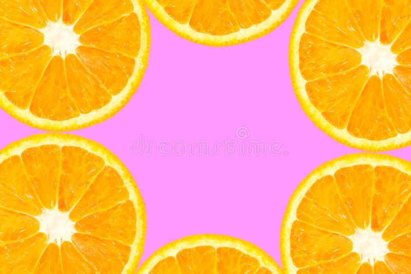 Top view of orange slice fruit on color. Background stock photography