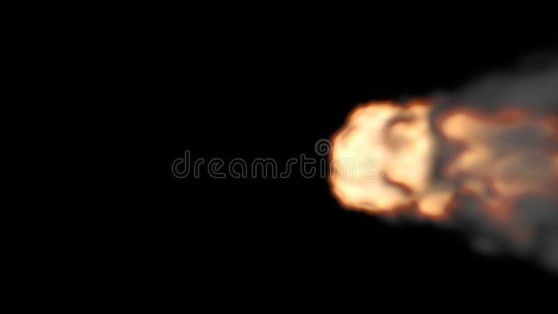 Top View of Orange and Yellow Fireball going to Left Side. On a Black Background royalty free illustration
