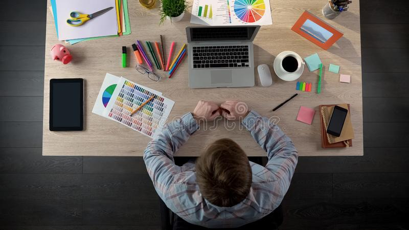 Top view of ordinary busy day from life of design studio worker, creative life. Stock photo royalty free stock photo