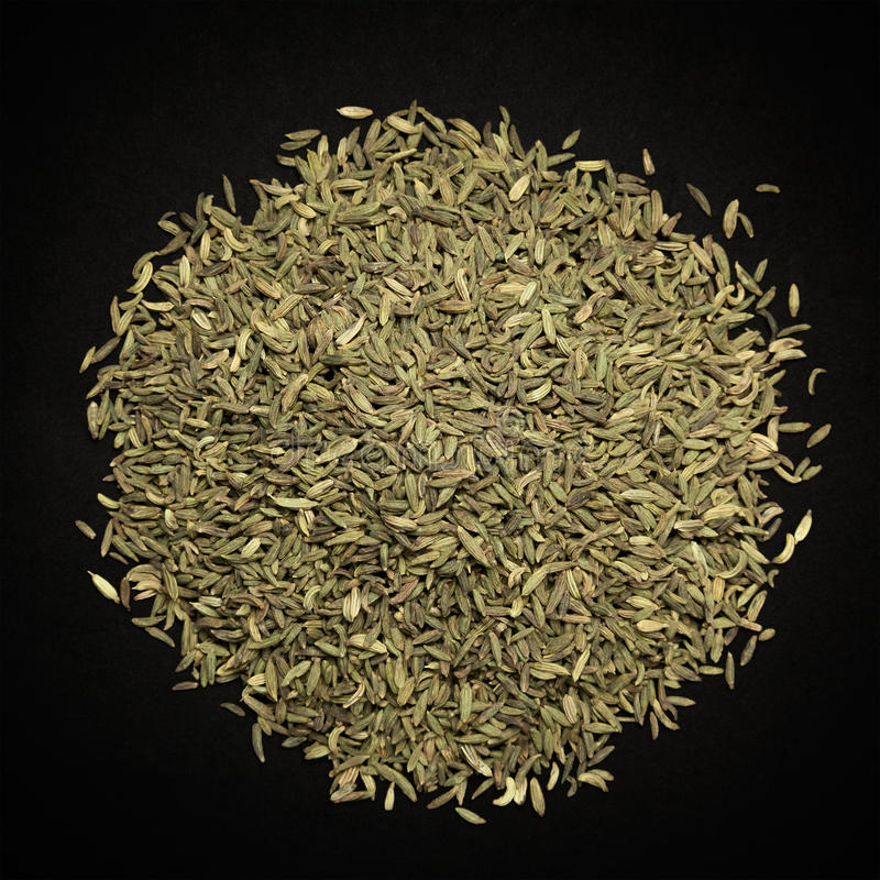 Top view of Organic Aniseed. Top view of Organic Aniseed (Pimpinella anisum) isolated on dark background stock image