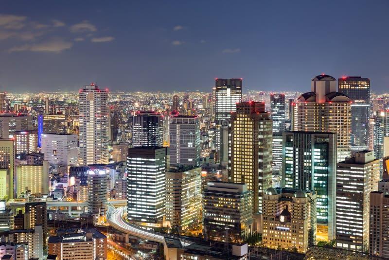 Top view, Osaka city lights night view royalty free stock photo