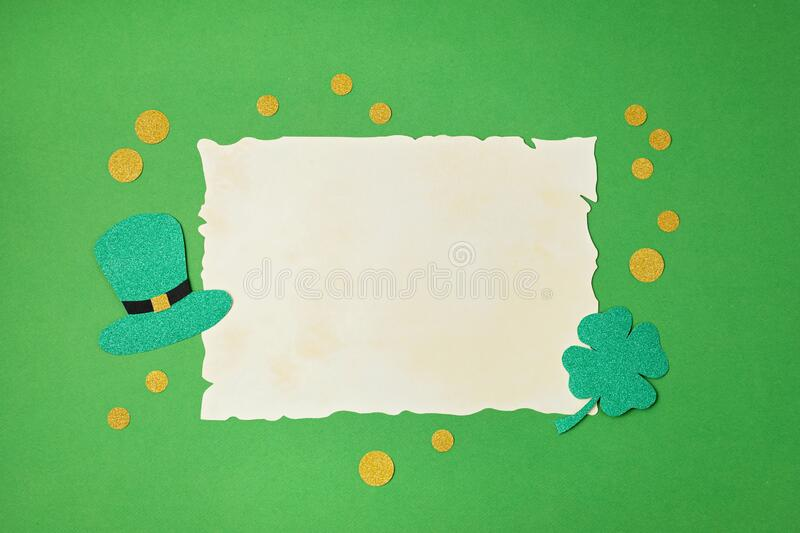 Top view over Saint Patrick day symbols in traditional colors. Greeting card, invitation, celebration idea stock images