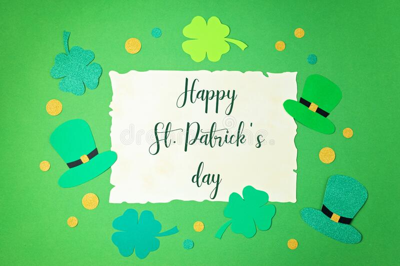Top view over Saint Patrick day symbols in traditional colors. Greeting card, invitation, celebration idea royalty free stock photography