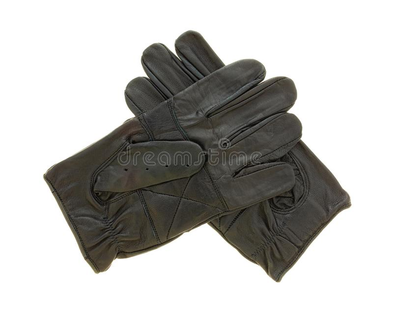 Leather driving gloves on a white background royalty free stock photos