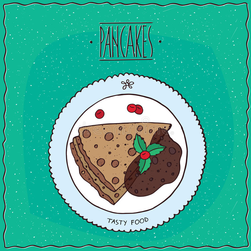 Top view on pancakes with chocolate. Beautiful pancakes with chocolate, lie on the plate. Top view. Cyan background. Handmade cartoon style royalty free illustration