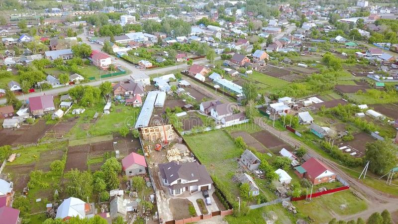 Top view on panorama of this village with cottages. Clip. Beautiful landscaped village for summer holiday in country stock photo