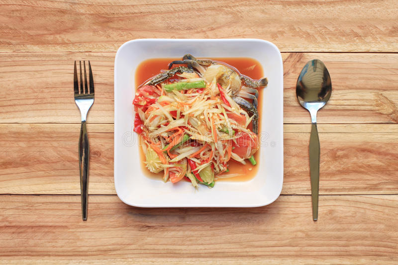 Top view Papaya salad of somtum in Thai food style for design di. Et background stock images
