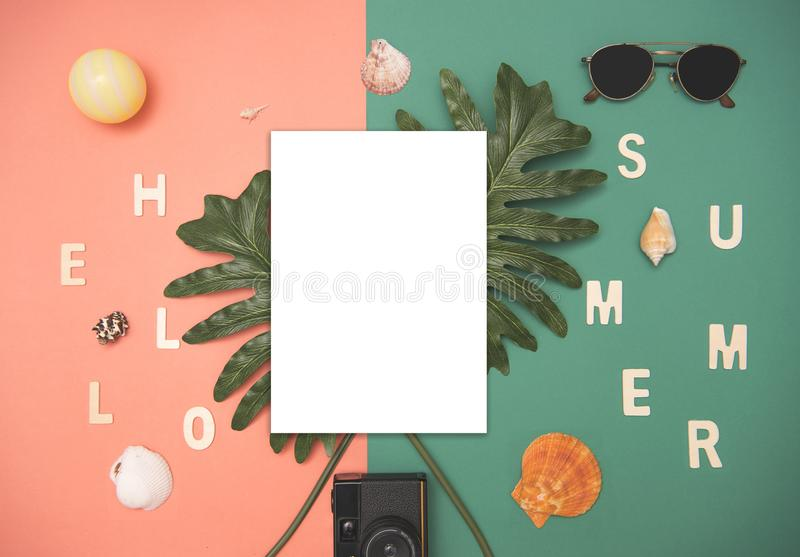 Download Top View Paper Mockup Template Nature Tropical Monstera Palm Stock Image - Image of space, sheet: 116185357