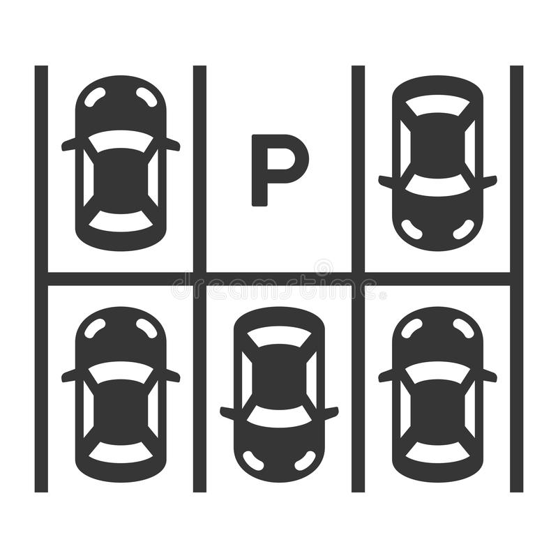 Top View Of Parking Lot. Vector royalty free illustration