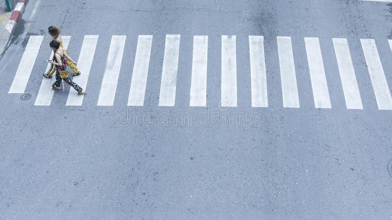 The top view of people walk on street pedestrian crossroad in th stock photography
