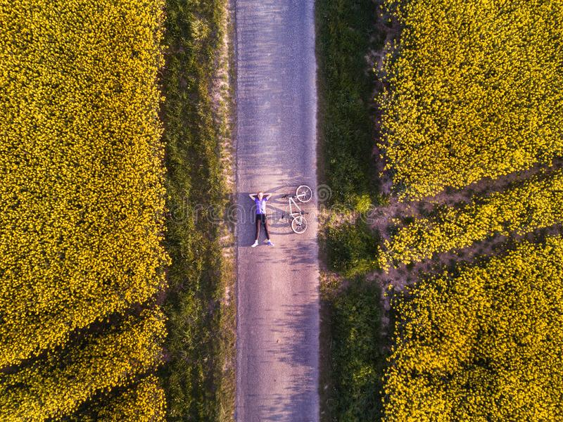 Top view of person with bicycle on the road royalty free stock photos