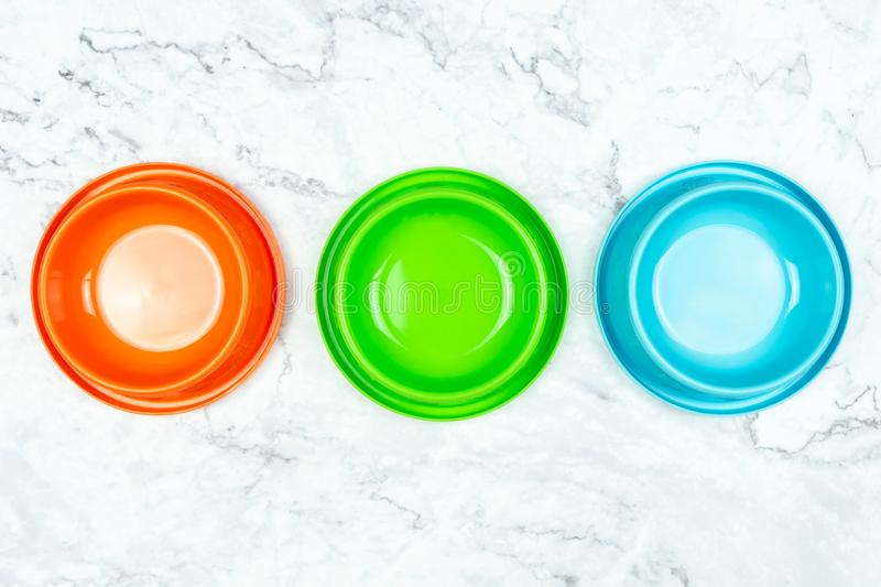 Top view pet bowl for dog or cat.  Pet supplies concept stock images