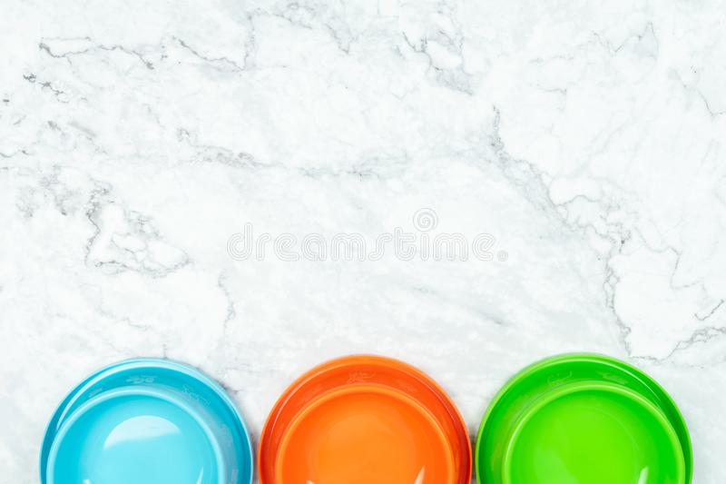 Top view pet bowl for dog or cat.  Pet supplies concept royalty free stock images