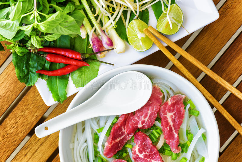 Top view of the Pho Bo. Popular beef noodle soup of Vietnam stock photo