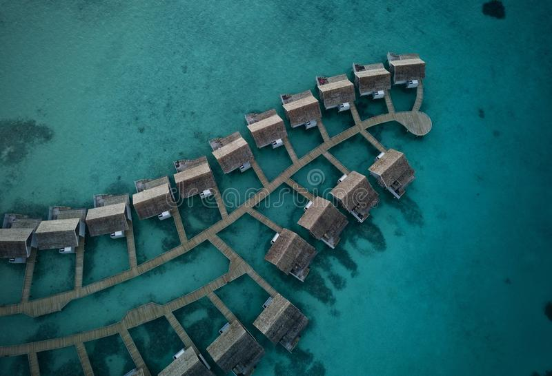 Top View Photo Of Cabin On Body Of Water royalty free stock photography