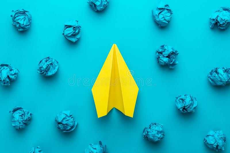 Top view photo of great business idea concept over turquoise blue background stock photography