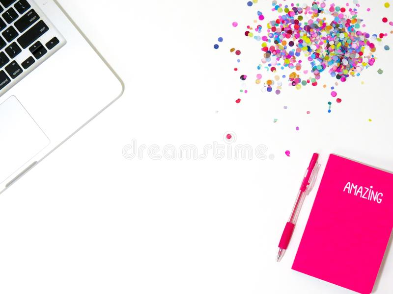 Top View Photo of Notebook and Laptop stock images
